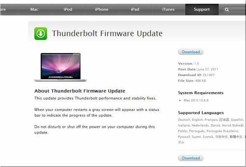 Thunderbolt Firmware Update