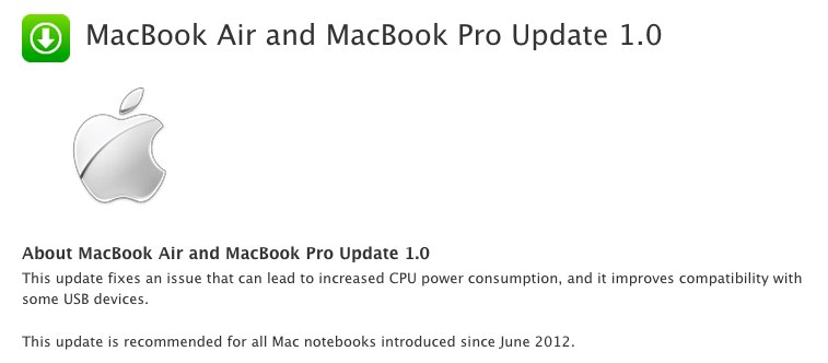 MacBook Air and MacBook Pro Update 1.0