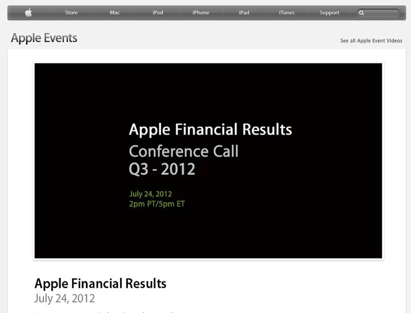 Apple - Apple Financial Results - Q3 2012