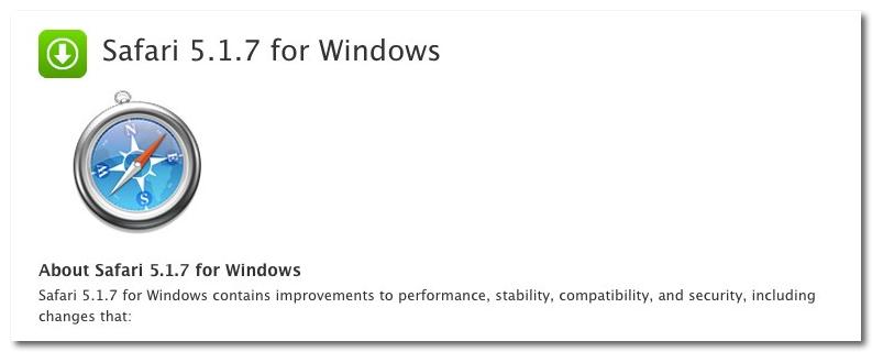 ~ Safari 5.1.7 for Windows