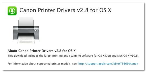 ~ Canon Printer Drivers v2.8 for OS X-1