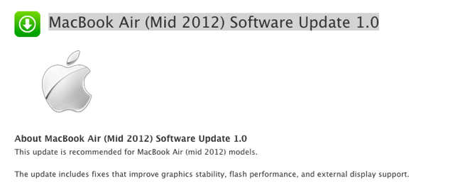 MacBook Air (Mid 2012) Software Update 1.0-2