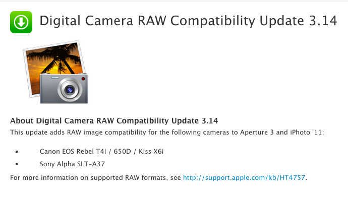Digital Camera RAW Compatibility Update 3.14