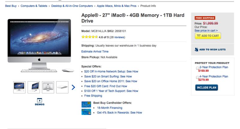 Apple® - 27_ iMac® - 4GB Memory - 1TB Hard Drive - MC814LL_A