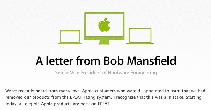 Apple - Environment - A letter from Bob Mansfield
